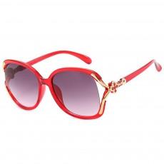 Elegant Fancy Gradient Eyeglasses Ladies Sunglasses UV Sunshine Protection Glasses with Delicate Hollow Clover Pattern Decoration