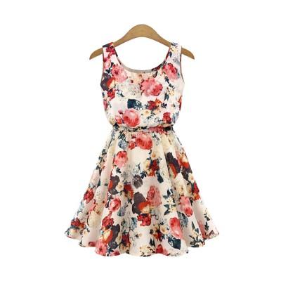 Printed Dress for Women Round Collar Exquisite Flower Printing Light Blue and Apricot Polyester One-piece Dresses Summer
