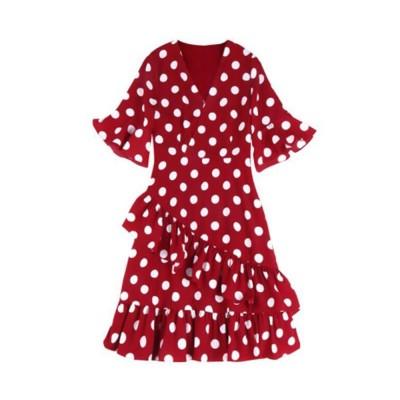 Elegant Fancy Dots Decorative V-Neck Line Dress Slim Fit Model Chiffon Lacing Dress with Falbala Sleeves