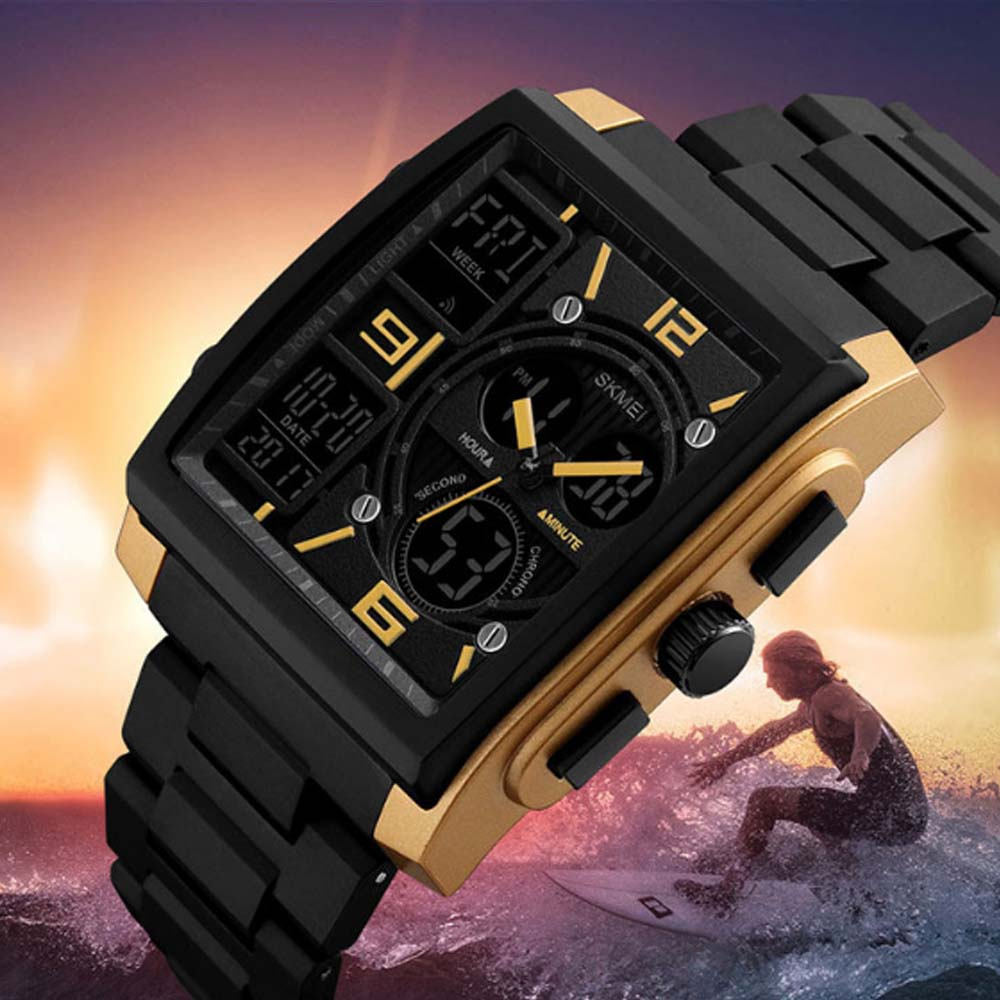 Stylish Minimalist Multifunctional Three Times Square Dial Casual Outdoor Sports Men Electronic Movement PU Strap Wristwatch