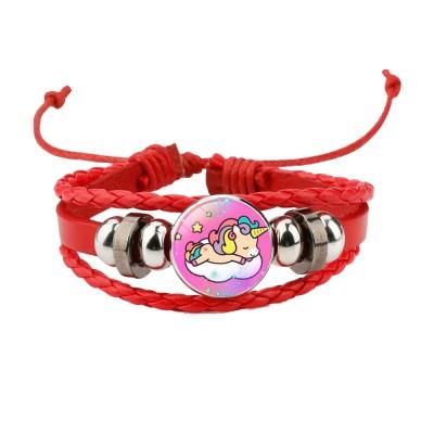 Unicorn Bracelet Ornaments Glass Material Imitation Leather Adjustable Belt Hand Catenary