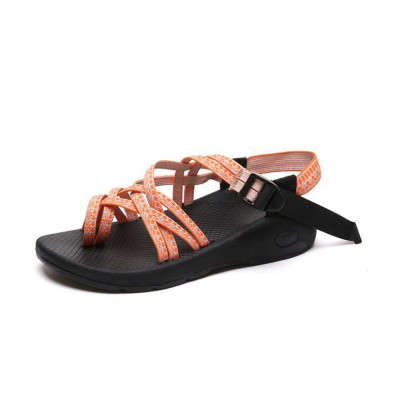 Minimalist Lady Toe-Knob Sandals with Stylish Printing Bands Outdoors Vacation Beach Babouche Flat Shoes for Women