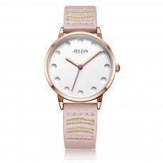 Lady Stylish Minimalist 30M Waterproof Quartz Wrist Watch with Microfiber Leather Strap Delicate Stitching Decoration