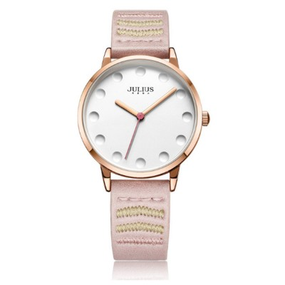 Lady Stylish Minimalist 30M Waterproof Quartz Wrist Watch with Microfiber Leather Strap Delicate Stitching Decoration
