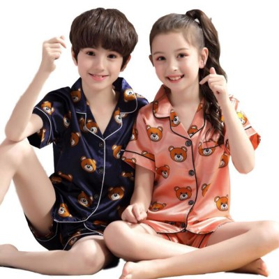 Parent-child Summer Two-piece Suit Cute Cartoon V-neck Lapel Pajamas, Silk-like Short-sleeved Bear Home Suit for Boy and Girl Clothes