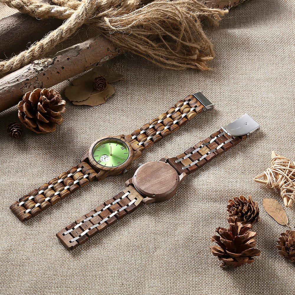 Casual Wood Watch with Wood Watchcase and Bracelet for Unisex Use Waterproof Japanese Quartz Movement Wood-steel-mixed Wristwatch