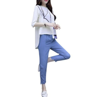 Minimalist Atmosphere Spring Lady Shirt Casual Trousers Suit Fashion Light Feet Pants Jointed Style Top for Women