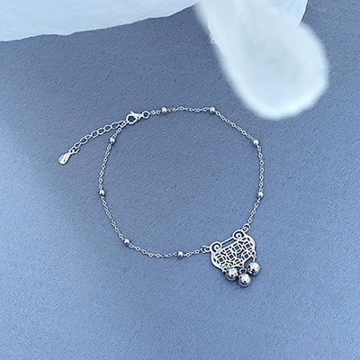 Pure Silver Anklet for Women Safety Lock and Lucky Bell National Style Fade-proof and Anti-allergy Lovely Chain