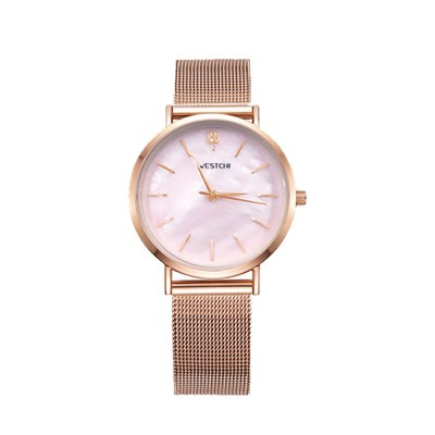 Elegant Quartz Women's Watch with Japan Miyota Movement & Mesh Bracelet Waterproof Mineral Tempered Looking Glass Wristwatch