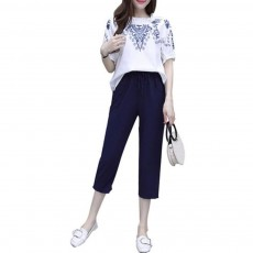 Elegant Casual Summer Lady Embroidered Tops Trousers Suit Breathable Cotton Linen Atmosphere Feet Ninth Pants for Women