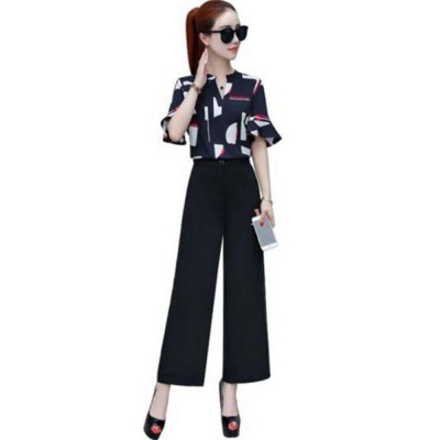 Stylish V-Neck Line Chiffon Shirt Loose Pants Suit for Ladies Minimalist Geometric Figure Pattern Decorative Tops with Falbala Sleeves