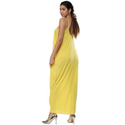 Sexy Fancy V-neck Line Women Braces Dress Summer Vacation Beach Irregular Loose Low-cut Long Dress