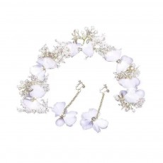 Fancy Flower Bees Model Artificial Pearl Decorative Hair Ornament Delicate Girl Crown Ear Clip Accessories Suit 3PCS
