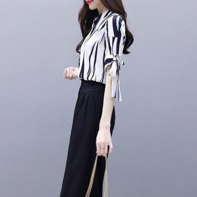 2PCS Minimalist Stylish Lines Printing Ladies Chiffon Shirt Loose Pants Suit Half Sleeve Tops Straight-leg Pants for Women