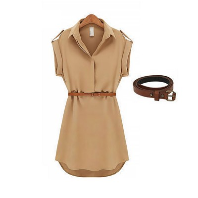 Raglan Dress for Women Lapel Design with Waist Strap Elegant Gorgeous One-piece Chiffon Short-sleeved Dress