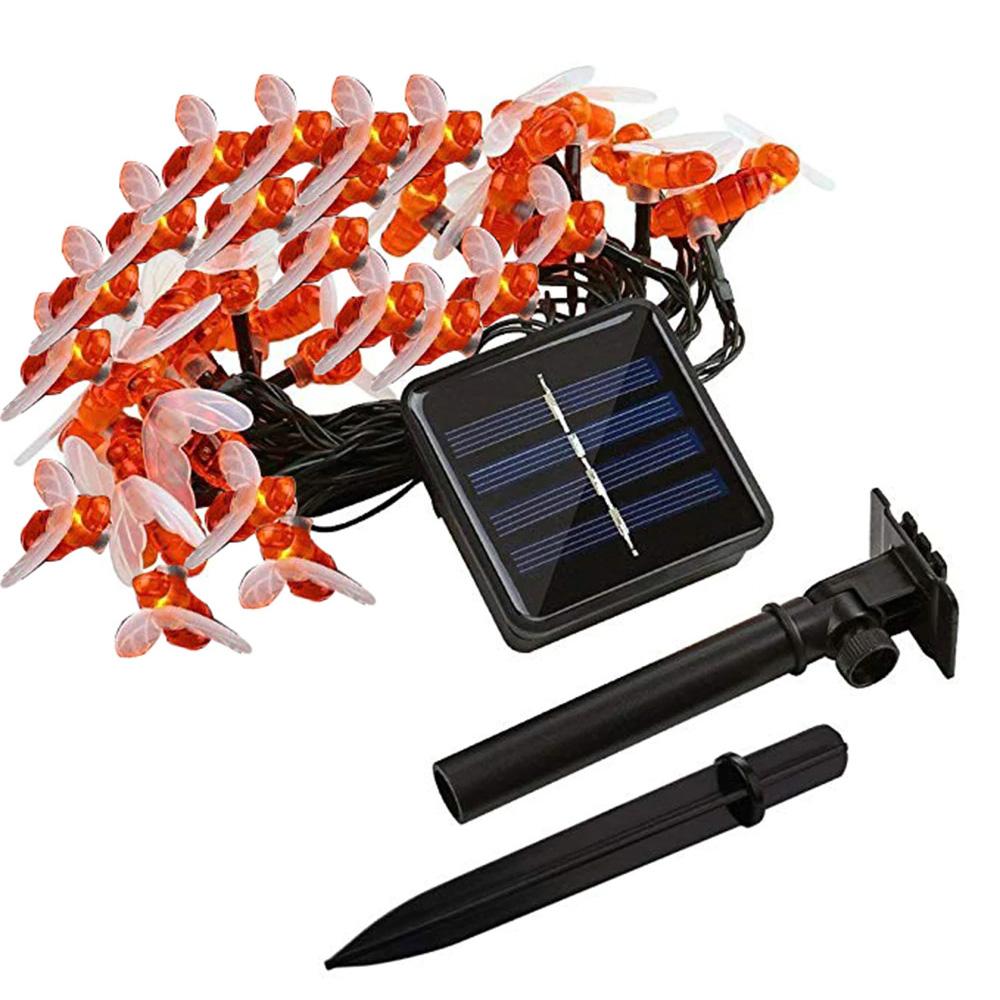7M 50Leds Christmas Bee Shape Light Solar Powered Outdoor Decorative Lighting Waterproof