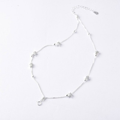 Luck Bracelet for Women Wide Range Stars Shape Korean Style 925 Sterling Silver Hand Catenary