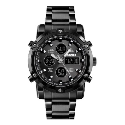 Minimalist Casual Fashionable Multifunctional Three Times Big Dial Men Electronic Movement Wrist Watch With Classic Steel Strap