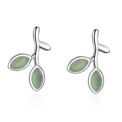 Green Leaf earrings for women Opals Pairs Suits Fashion and Simple Style 925 Sterling Sliver Ear Stud