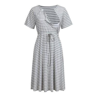 Fashionable Striped Skirt for Pregnant Women Short Sleeves Dress for Breast-feeding