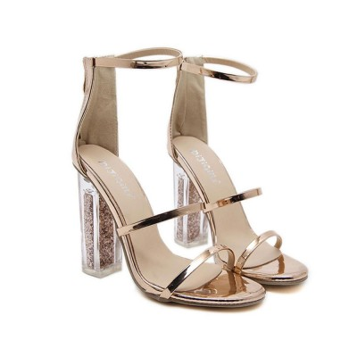 Summer 2020 Open-toed Thick and High Heeled Sandals, New Sequined Transparent High Heels