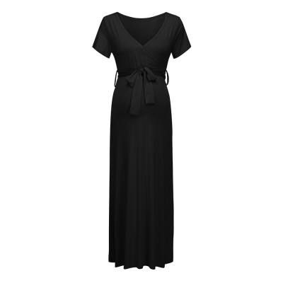 V-neck Short Sleeve Lady's Long Skirt, Pure Colors Maternal Skirt with Belt, European and American Styles 2020