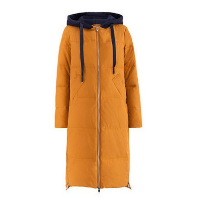 Inman Winter Autumn Long Hooded Down Wear New Coloured Hat Drawing Rope Side Opening Female Warm Down Jacket