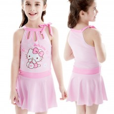 Hello Kitty Girl Swimsuit One-Piece Sleeveless Bathing Suit?Kitty Cat Swimming Suit Skirt for 3 to 12 Years Children