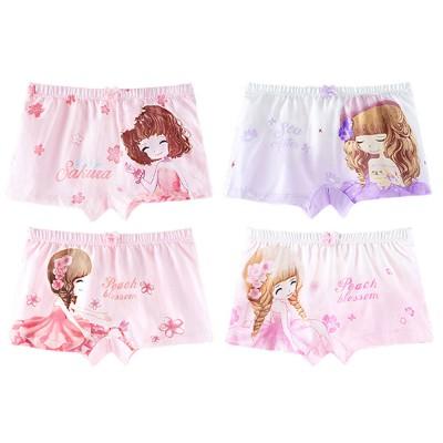 4pcs Girls Underwear Organic Cotton Boxer Briefs Cute Underwear Set for Girls 3-14 Years Old