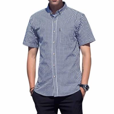 Casual Plaid Pure Cotton Short Sleeve Shirt for Men's Close-fitting Men Shirts Large Size Men's Wear