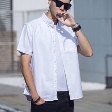 Pure Cotton Short Sleeve Shirt with Embroidered for Men's Daily Wear in Summer  Casual Style Simple Designed Pure Color Men Clothing