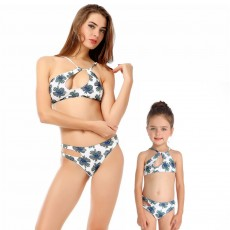 New Two-pieces Family Swimming Suit Mother & Daughter Swimsuit with Leaf Floral Printing Bikini