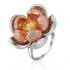 2019 Latest European Style S925 Silver Lotus Flower Ring in Vogue, Easy Matching Glittering Zircon Diamond Ring