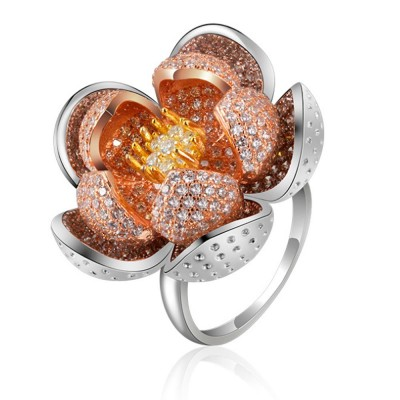 2020 Latest European Style S925 Silver Lotus Flower Ring in Vogue, Easy Matching Glittering Zircon Diamond Ring