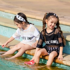 Kids Fashionable Three-pieces Swimsuit with Hair Band Mesh Overall Black & White Bikini Summer Necessary