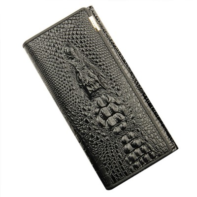 Stylish Women Long Purse with Crocodile Grain Textured Large Capacity Clutch Zipper Bag