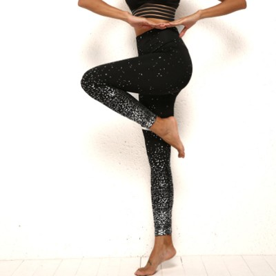 Yoga Fitness Women Leggings High-waisted Elastic Pants Close-fitting Seamless Ninth Pants with Silver Plating for Lady Fitness