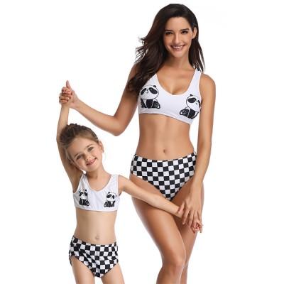 Panda Pattern Cute Mother and Daughter Swimming Suit Family Matching Swimwear