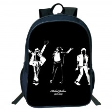 Student Backpack with Double Layer Large Capacity MJ Pattern Shoulder Bag With Elastic Side Pocket