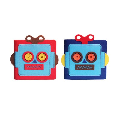 Creative Notebook with Bright Robot Design Felt Material Grid Horizontal Line for Student Kids