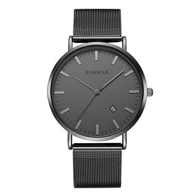 Minimalist Ultra-thin Waterproof Men Quartz Watch Business Casual Wrist Watch with Steel Leather Band