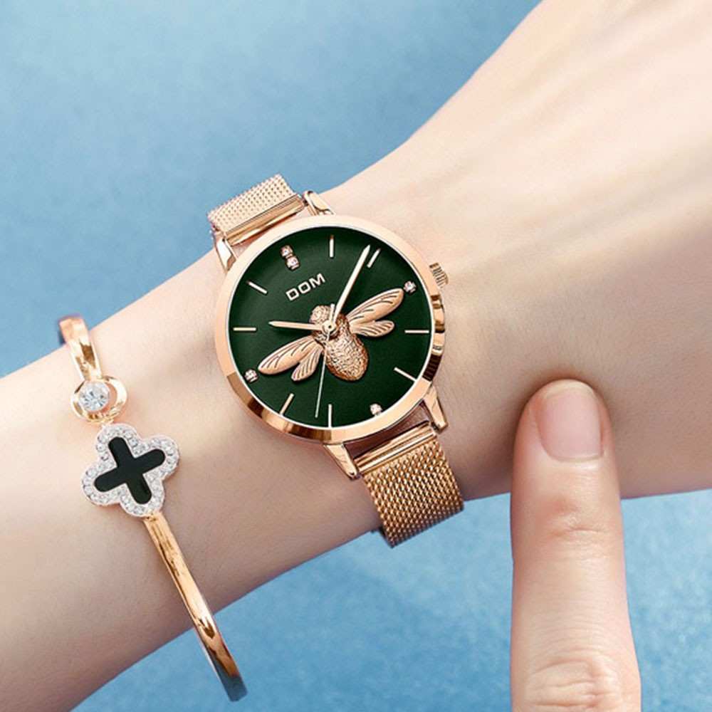 Fancy Elegant Waterproof Ladies Quartz Wrist Watch with 3D Bee Decoration Stylish Knitted Strap Bracelet Suit for Women