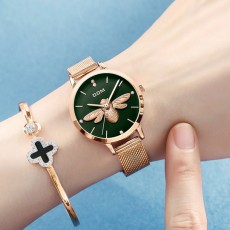 Fancy Elegant Waterproof Ladies Quartz Wrist Watch with 3D Bee Decoration Stylish Knitted Strap Bracelet Suit for Women