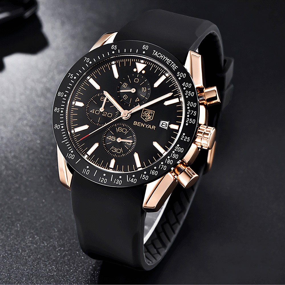 Atmosphere Minimalist Multifunctional Waterproof Men Quartz Watch Sports Business Wrist Watch with Silicone Strap Timing Function