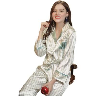 Imitation Silk Fabric Long-sleeved Pajamas set, Classic Lapel Fashion Casual Striped Tracksuit, Spring and Autumn 2019