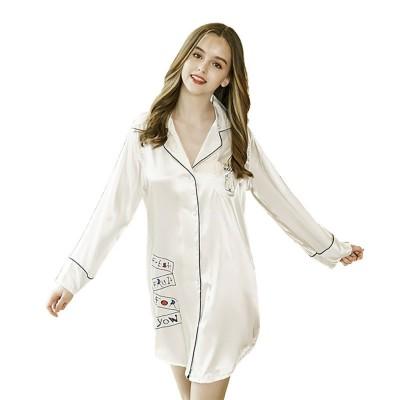 Imitation Silk Fabric Sexy Shirt Pajamas, Women's Fresh Campus Style Long Sleeve Nightdress