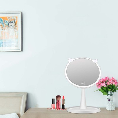 LED Makeup Mirror, Cat Cosmetic Mirror, Adjustable USB Charger Mirror, One-Sided Rectangle Mirror, Portable Desk Mirror for Make Up