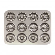 Round 12 Continuous Mold Non-Stick Household Donut Cake Mold Small Bread Baking Mold Commercial Large Baking Tray