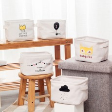 Cotton Linen Storage Box, Wardrobe Small Coffee Table Toy Storage Basket, Simple Desktop Sundries Snack Storage Container
