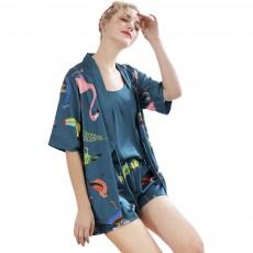 Beautiful Printing Pattern Japanese Kimono Pajamas Set, Women's Sexy Sling Shorts Tracksuit, Three-piece
